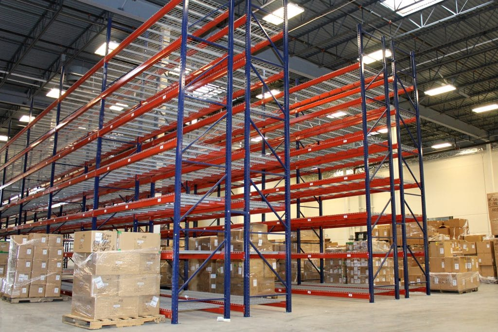 Multi Level Pallett Racks in a Warehouse CUE Shelf Selective Rack from a side view